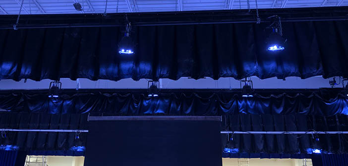 The theatrical lighting upgrade was installed in gymnatoriums in both schools