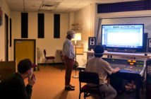 SFA sound recording technology seniors prepare a session at the console