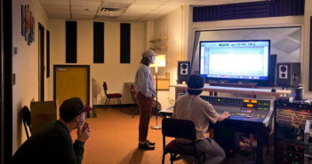 SFA sound recording technology seniors prepare a session at the console