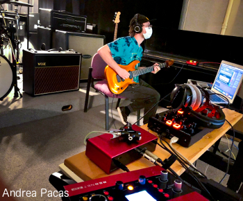 SFA sound recording technology freshman and guitarist Tanner Tankersly prepares for a tracking session