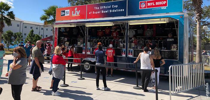 A Super Bowl LV merchandising kiosk